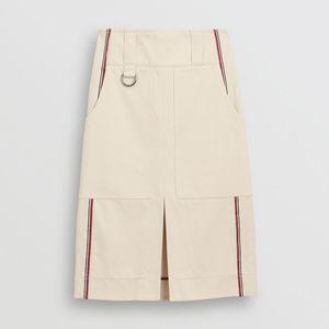Burberry  Stripe Detail Cotton A-line Skirt